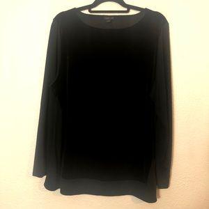 J Jill Wearever Collection Black Velour Tunic XL